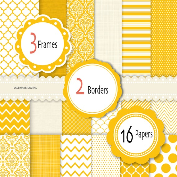 Yellow Digital Paper and clipart, scrapbook paper, damask digital paper, chevron paper in Marigold Yellow-  081