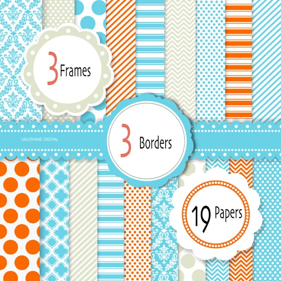 Blue and orange  Digital scrapbook printable paper and clipart, 19 sheets and 6 clip arts - iNSTANT DOWNLOAD Pack 225