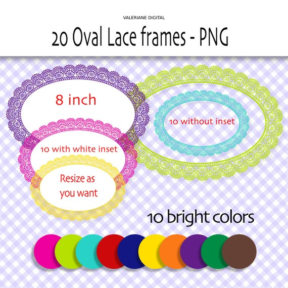 Oval Lace frames clipart in bright colors - 20 Digital lace frame, PNG Digital scrapbook frames or labels  INSTANT DOWNLOAD 239