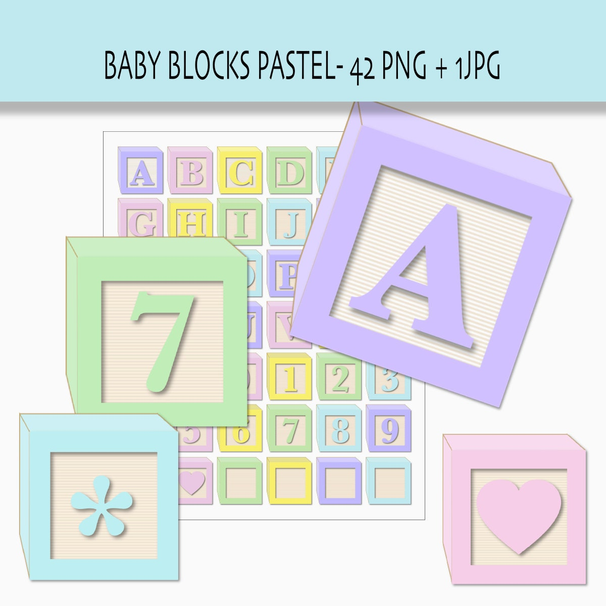 Baby blocks alphabet and numbers clip art in by ValerianeDigital