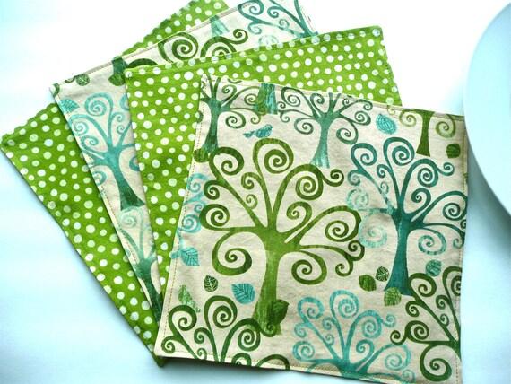 Fresh Kiwi Green Cloth Napkins - Swirly Trees & Polka Dots - Sets of 4 reversible