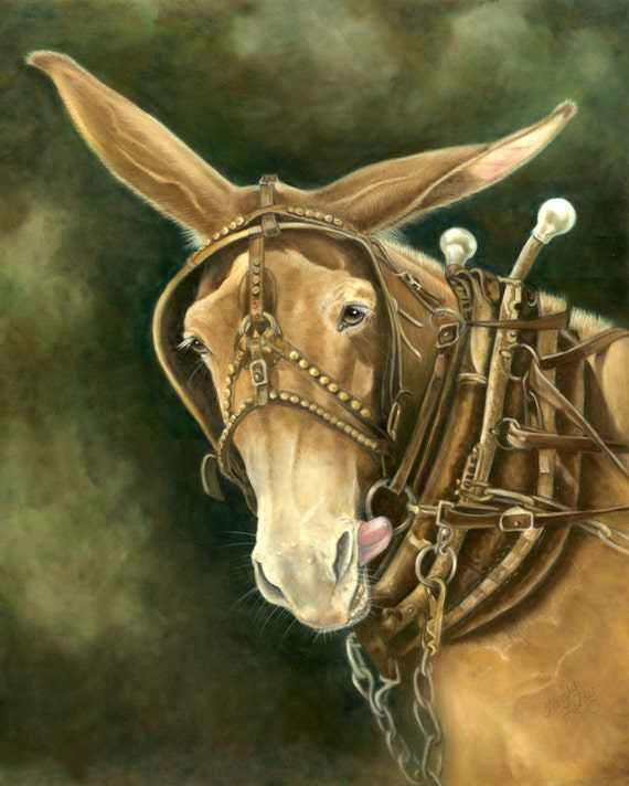 Do What- a pastel drawing from artist Wendy Leedy's mule collection- fine art print, signed