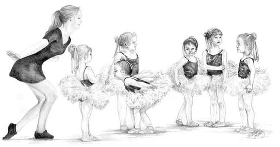 Ballet Babies- a pencil drawing from Wendy Leedy's commissions collection- fine art print, signed