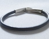 GREY leather bracelet with silver metal closer- celebrity style- under 20- on etsy by project 561