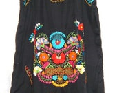Vintage Fiesta Black Romantic Black Beauty Mexican Dress Hand Embroidered Flowers