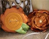 Handmade Flower Pin Accessory: Primrose Passion Dark Gold with Cream Wood Bead
