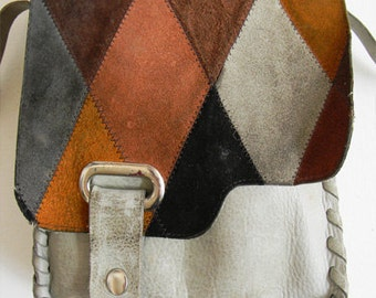 Vintage Harlequin Leather Patchwork Crossbody Bag