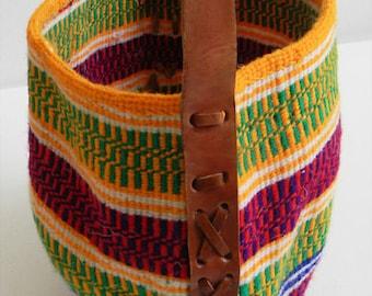 Vintage Navajo Woven Bucket Bag Leather Strap