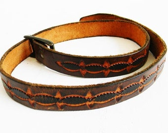 Vintage Leather Belt Carved Patternl Belt 1960s