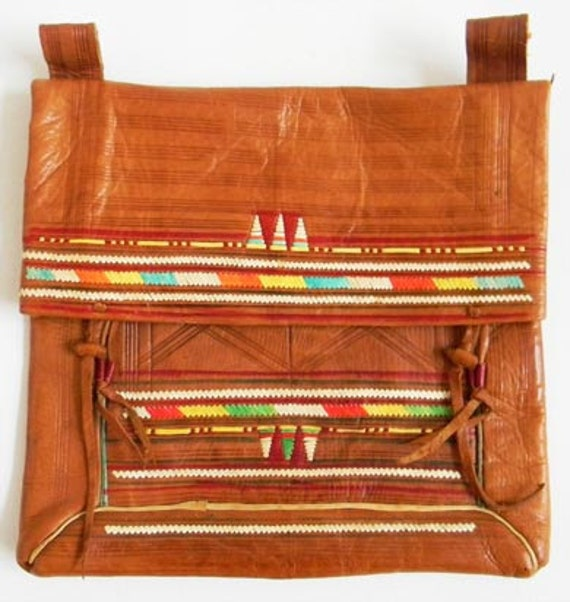 Vintage Leather Clutch Ethnic Colorful