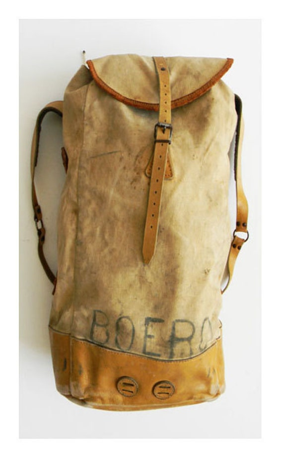 Vintage Heavy Duty Backpack Leather And Canvas