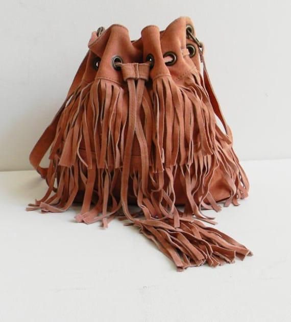 Suede Fringe Drawstring Bucket Bag INDIA