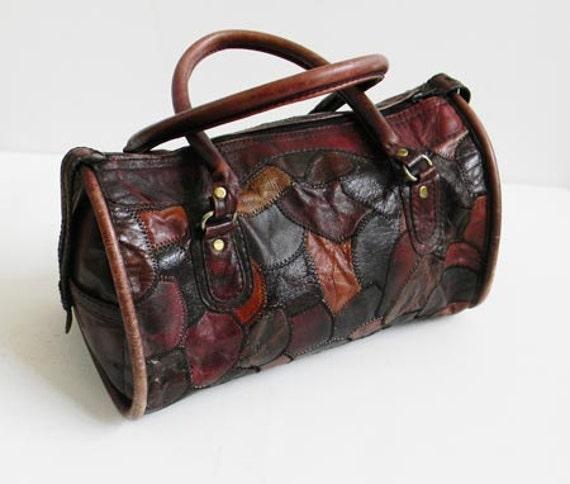 Vintage Leather Patchwork Duffel