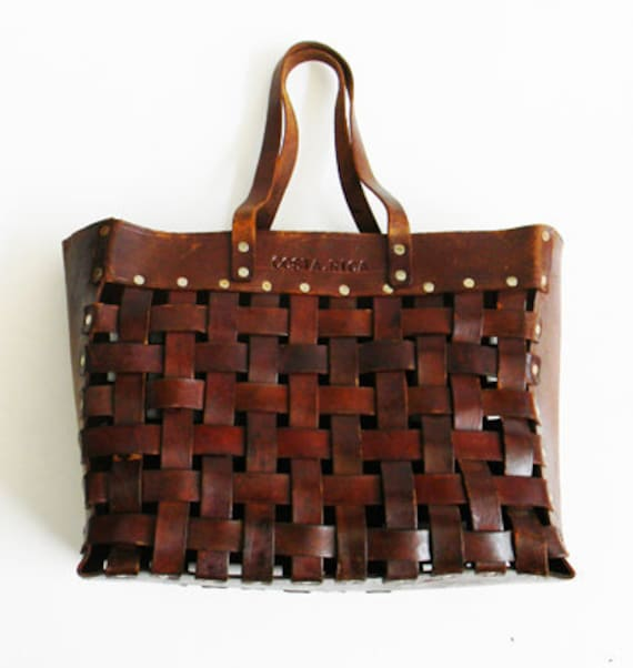 Vintage XL Industrial Leather Basket Weave Bag Weekender