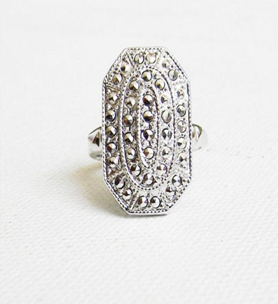 Antique Sterling Silver Marcasite Art Deco Ring