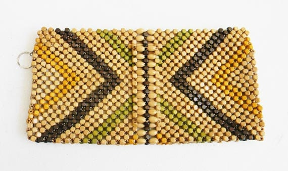 Vintage 1930s Wood Bead Chevron Clutch Bag CZECHOSLOVAKIA
