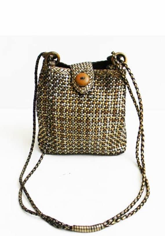 Vintage Woven Metallic Leather Crossbody Bag BRAZIL