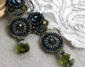 Beadwoven Indiana Earrings in Blue, Green and Olive