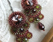 Beadwoven Bollywood Earrings in Burgundy and Olive