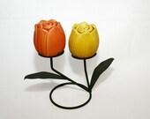 Vintage Tulip Flower Salt and Pepper Shakers