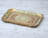 Gold and Aqua Paper Mache Tray Italian