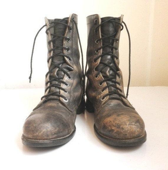 1980s Vintage Military Men Steampunk Grunge Boots by captainblack