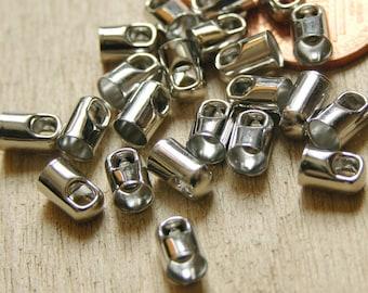 30 Cord Ends 4mm inner diameter, Platinum Color, Nickel Free