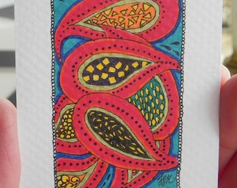 Red Paisley ACEO