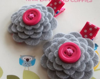 GRAY with HOT PINK Wool Felt Flower Hair Clips