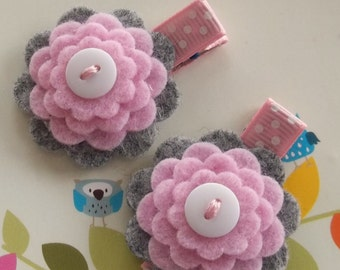 PINK GRAY Wool Felt Flower Hair Clips Clippies Babies Toddlers Girls