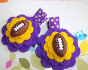 Purple Yellow-Gold Football Wool Felt Flower Hair Clips Babies Toddlers Girls