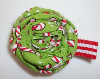 CANDY CANE HOLIDAY Green Red White Rolled Frayed Fabric Rosette Clip