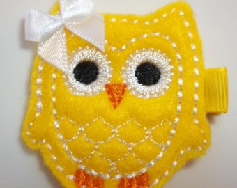 Spring Easter YELLOW with WHITE Felt OWL Hair Clip Baby Toddlers Girls
