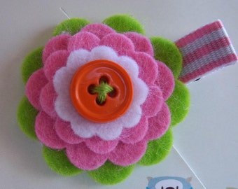 LIME PINK WHITE Summer Wool Felt Flower Hair Clip Clippie Baby Toddler Girls