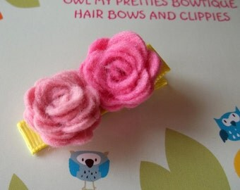 Pink Yellow Felt Roses Hair Clip Clippie Baby, Toddlers, Girls