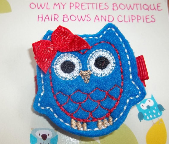 PATRIOTIC, USA, 4th of JULY, Memorial Day, Military Baby,  Felt Owl Hair Clip Clippie Babies Toddlers Girls