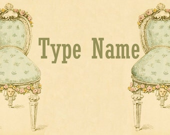 French Chairs Place Card Template
