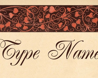 Heart Scrollwork Place Card Template