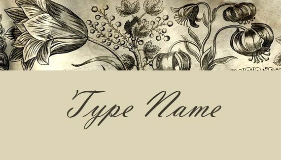 Copperplate Floral Place Card Template