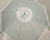 Lovely Blue Striped Parasol with delicate white lace