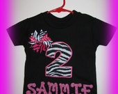 Birthday Girl Applique Shirt or Onesie Zebra print with spike ribbon bow with fabric lettering-Disarray Designs