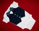 Wedding or Party Baby Boy Tuxedo Navy Blue Vest Short Sleeve Onesie or Tshirt with Navy Paisley bowtie