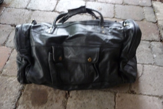 Vintage Black Leather   X Large Duffle Bag -  Travel Bag - Luggage EXCELLENT CONDITION