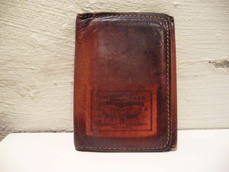 Vintage Levi Strauss Tri Fold Wallet Brown By Ciaobabyvintage