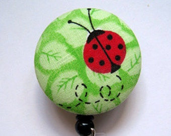 Ladybug Badge Reel - Ladybug Badge Holder - ID Name Badge - Badge Reel - Retractable Badge Reel - Nurse Gift - Fabric Badge Reel