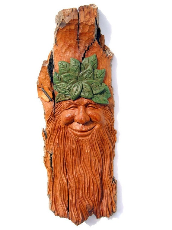 Green Man Wood Carving in Bark w/ Butterfly & Leaves Wall Hanging. A Happy Fellow. He also looks a bit like a Wood Spirit or an Elf.
