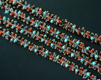 A-151. 20cm,  Multi Color, Glass Beads Chain