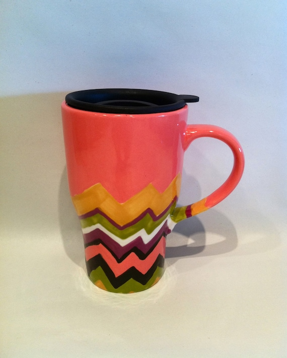 Coloful Chevron Travel Mug