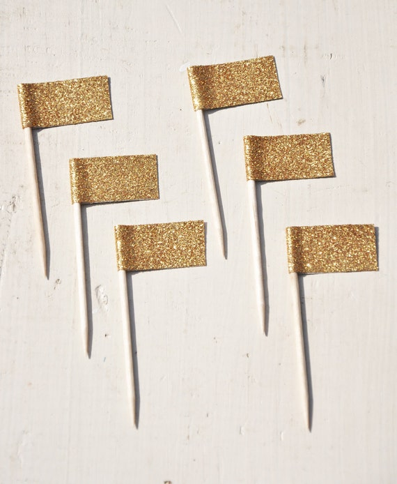 Custom Square Glitter Cupcake Flags