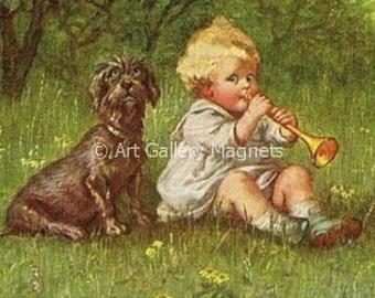 Wirehair DACHSHUND & Child  Vintage 1921 Postcard  Magnet Print
